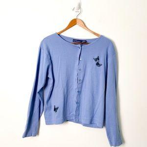 Vintage Pastel Blue Crewneck Y2K Cardigan Sweater